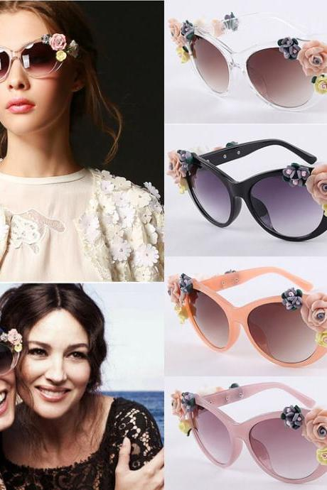 Hot Fashion Retro Vintage Shades Women Designer Rose Flowers Sunglasses