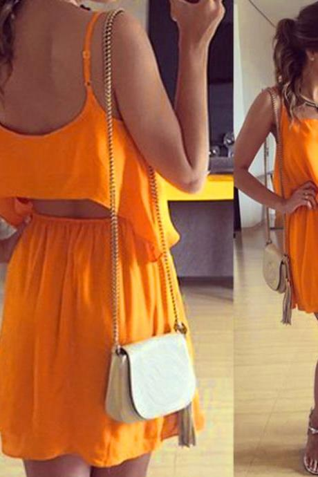Stylish Lady Women Sexy Strap O-Neck Orange Chiffon Backless Party Casual Tops + Skirt Slim Mini Dress Set