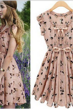 Fashion Pearl Chiffon Elk Pattern Slim Dress