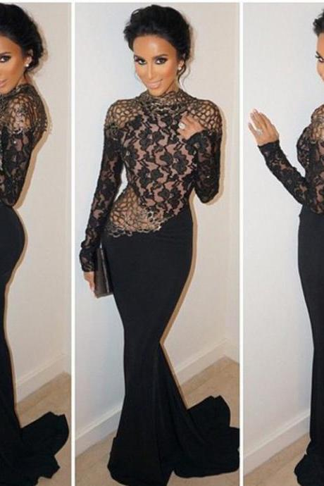 Stylish Lady Women's Sexy Lace Long Sleeve Backless Mesh Stitching Bodycon Long Dress