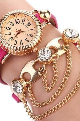 Bohemian style dress pink woman watch