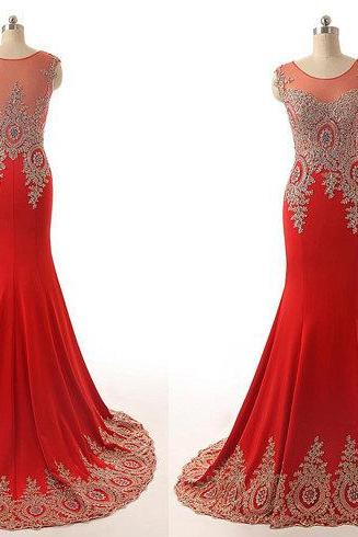 Red Crew Neck Sleeveless Floor Length Chiffon Mermaid Formal Dress Featuring Gold Lace Appliqués