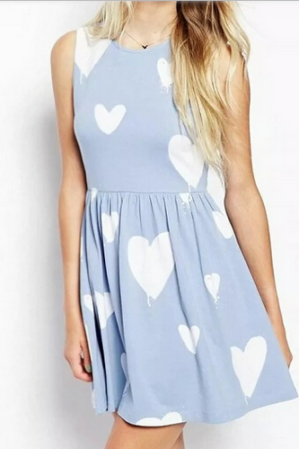 Sweet Light Blue Heart Print A-Line Dress