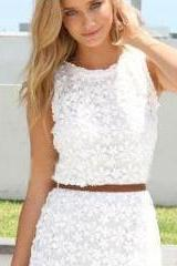 2015 Women Summer Hollow-Out Perspective Lace Vest Slim Hip Dress