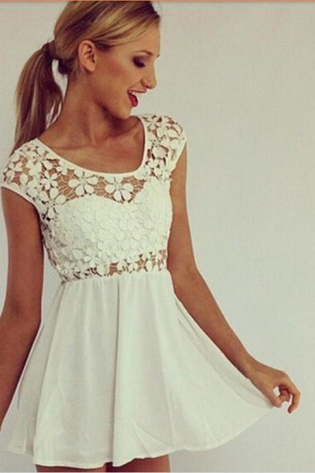 2015 Summer Stitching Lace Dress