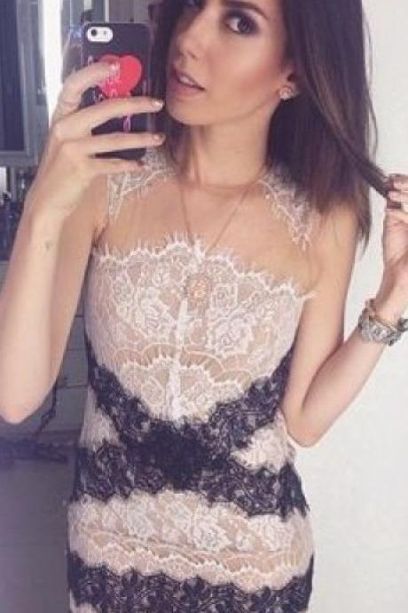 2015 Summer Sexy Slim Eyelash Lace Sleeveless Dress