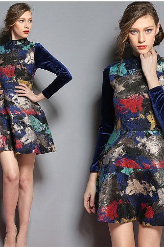 2015 New Fashion Spring Europe Style Printing Long Sleeve Silm Women Dress