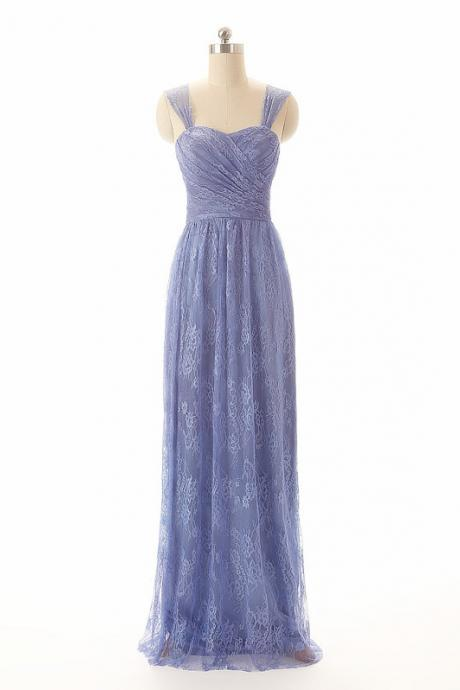 Lace Straps Long Prom Dress ,evening Long Dress.bridesmaid dress Lavender color