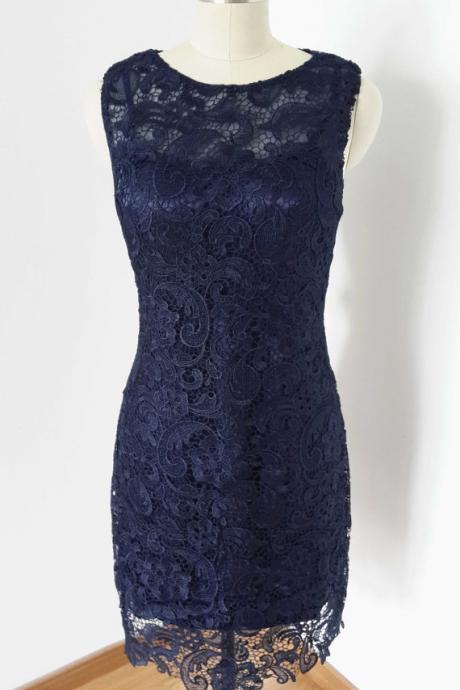 Lace short Prom Dress ,evening navy blue Dress.bridesmaid dress