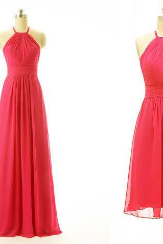 Chiffon Halter Neck A-Line Bridesmaid Dress, Formal Dress in Mini Length or Floor Length