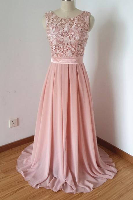 Scoop Beaded Chiffon Long Prom Dress ,evening Long Dress.bridesmaid dress
