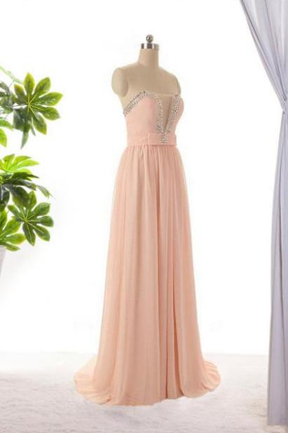 Long Prom Dress ,evening SDress.bridesmaid dress Long Chiffon Dress With Beaded Sweetheart