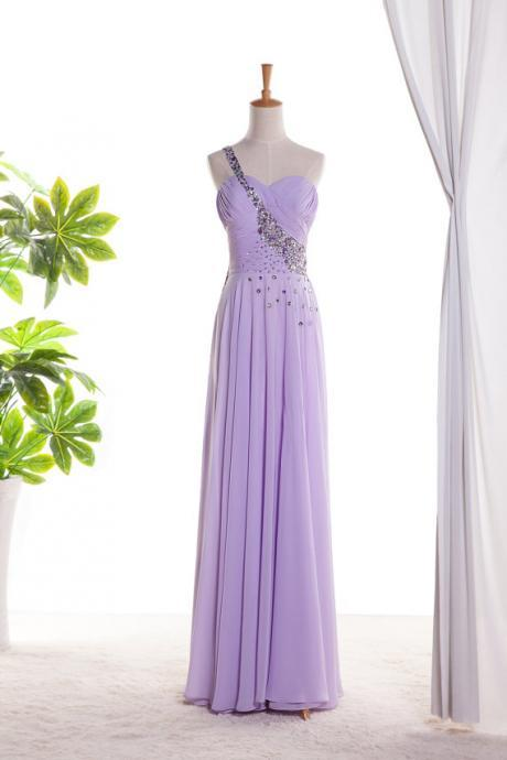 Sweetheart Beaded One Shoulder Long Prom Dress ,evening Dress.bridesmaid dress Long Chiffon Dress With Beaded Sweetheart