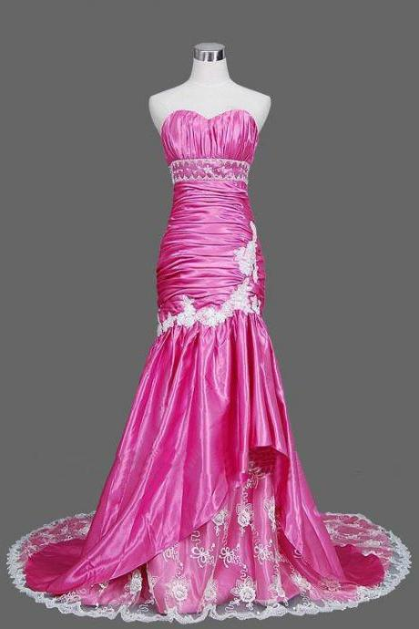 Hot Pink Sweetheart Mermaid Prom Dress 2015