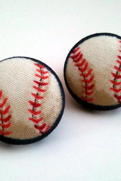 Baseball softball red off white navy blue button earrings
