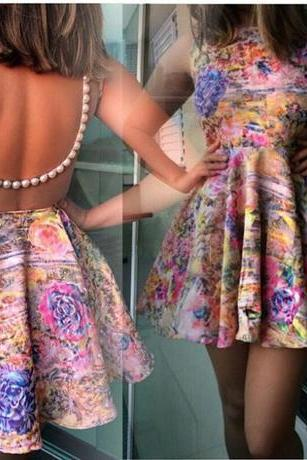 2015 New fashion summer Printed Back Hollow Beaded Sleeveless Dress
