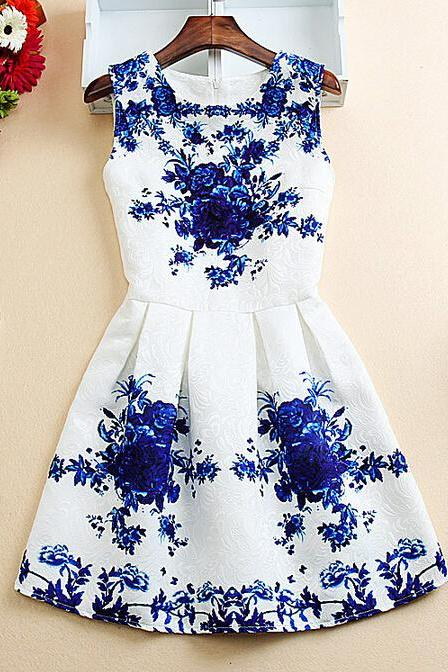 Printed sleeveless vest dress VG41919MN