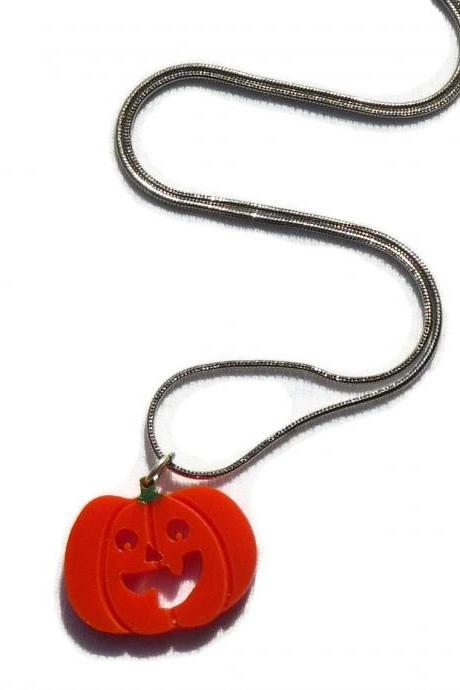 Halloween Jewelry,Mini Pumpkin Necklace,Lasercut Acrylic
