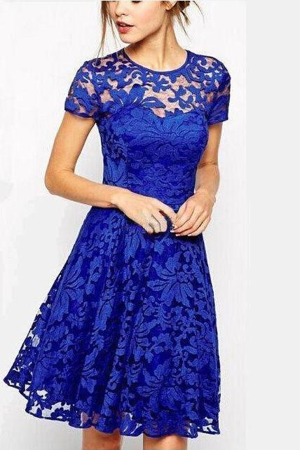 2015 summer Fashion Round Neck Short Sleeve Blue Lace Dress