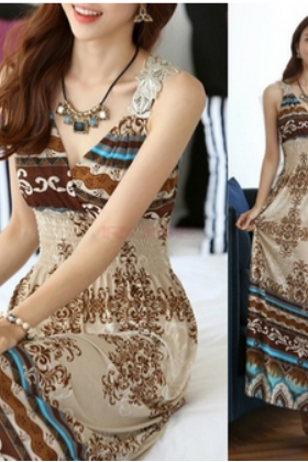 Maxi Lace Back Sexy Women Summer Bohemia Long Beach Dress One Size (Color Apricot)