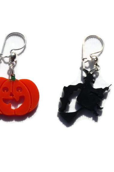 Halloween Jewelry, Witch and Pumpkin Earrings,Lasercut Acrylic