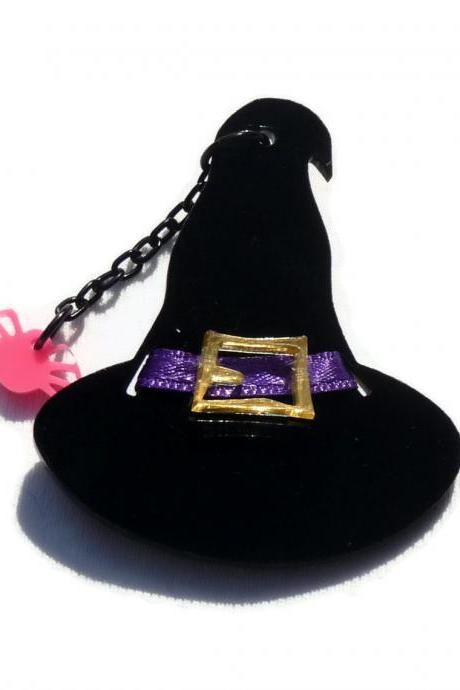 Halloween Jewelry, Witch Hat Brooch,Lasercut Acrylic