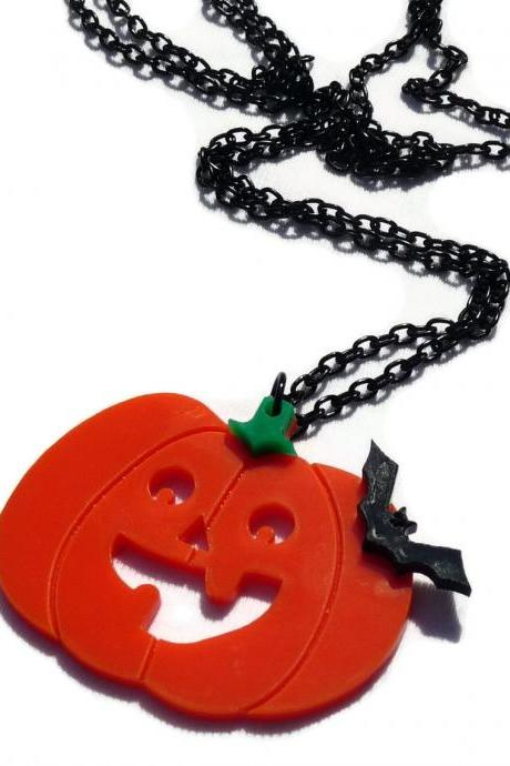 Halloween Jewelry,Pumpkin Necklace,Lasercut Acrylic