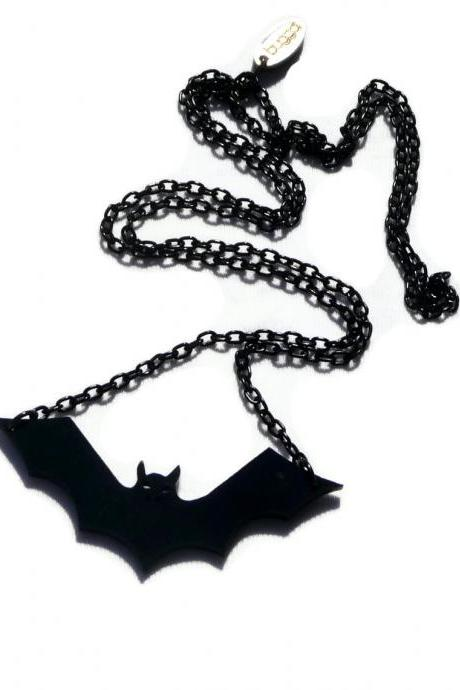 Halloween Jewelry,Bat Necklace,Lasercut Acrylic