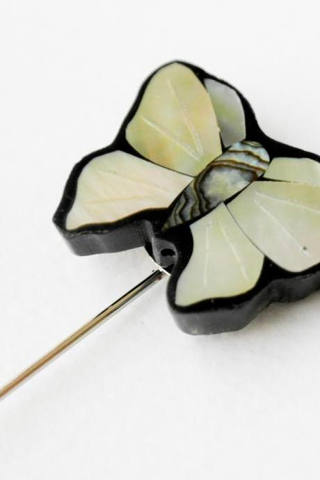 Mother of Pearl butterfly Men boutonniere lapel pin, tie pin, stick pin for Men's gift.