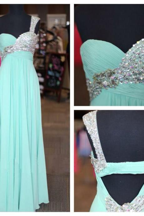 long prom dress, one shoulder prom dress, backless prom dress, formal prom dress, blue prom dress, popular prom dress, BD53