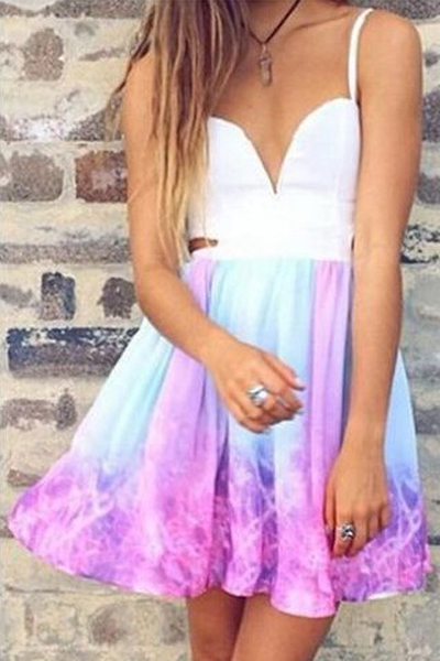 Tie dye galaxy ombre spaghetti strap dress