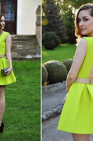 2015 Spring New Fashion Backless Dress Short Formal Prom Dress