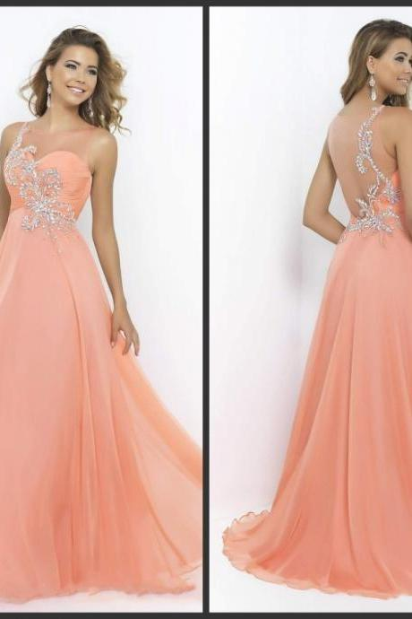 Prom Dress 2016 Crystal Beading Tank Sleeves Nude Sheer Back A Line Chiffon Elegant Prom Evening Dress Cheap