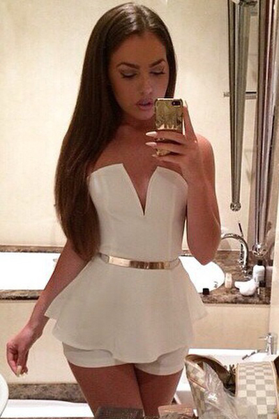 Cheap Sexy Off The Shoulder Sleeveless Solid White One-Piece Regular Jumpsuit