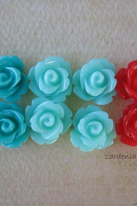 12PCS - Mini Rose Flower Cabochons - 10mm - Resin - Mint Cherry - Cabochons by ZARDENIA