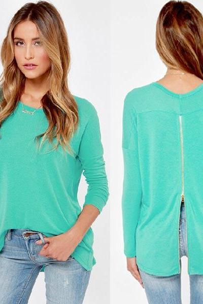 Mint Green Women Long Sleeve Loose Sweater Tops Jumper Pullover Knitwear Hot
