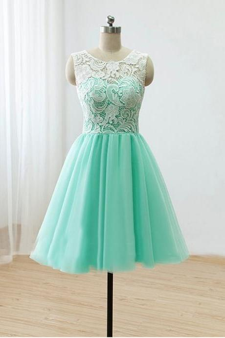 Short Mint Lace Tulle Prom Dress Round-Neck Lace A-Line Short Party Dress