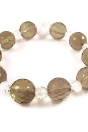 Bracelet, Clear Crystal, Smoky Quartz Color, Stretch Bracelet, Fashion Jewelry