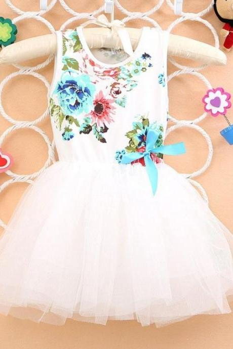 White Dress Printed White Floral Dress Kids White Dress Summer Outfit 12 Months