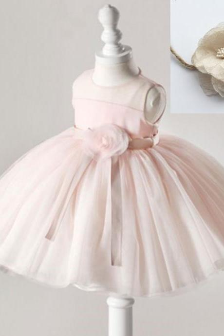 Girls Pink Dress Elegant Birthday Dress with FREE Ivory Headband Newborn Girls Tutus