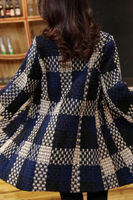 ON SALE Tweed High Quality Tweed Jackets Navy Blue Blazers for Women Free Shipping Plaid Blazers Checkered Overcoats