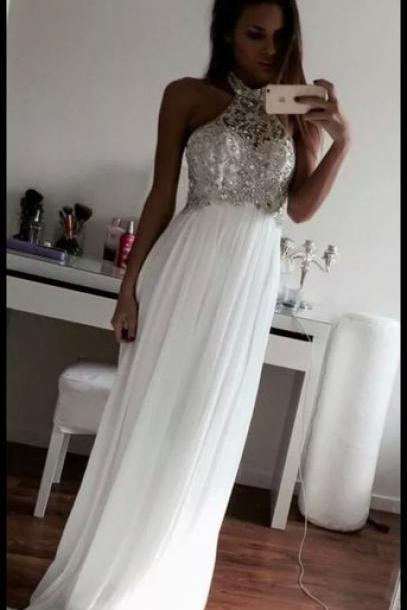Custom Made A Line Halter Neck White Floor Length Prom Dresses