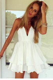 Sling White V Collar Sexy Dress