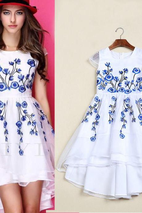 2015 Blue And White Porcelain Embroidery Flower Organza Patchwork Dress