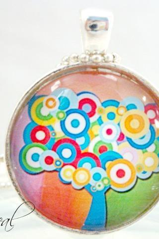 Whimsical tree colors of life Pendant