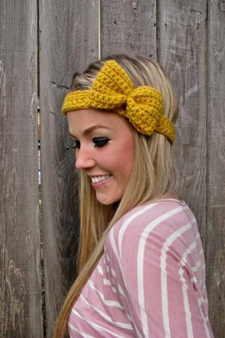 Mustard Bow Headband with Natural Vegan Coconut Shell Buttons - Adjustable