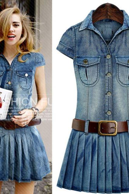 Denim Pleated Dress for Women Sexy Cowgirl Dress