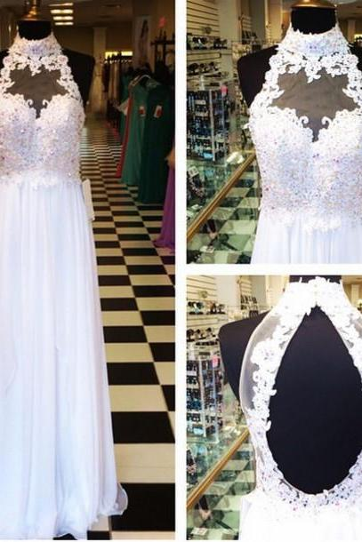 Lace prom dress, long prom dress, white prom dress, 2015 prom dress, backless prom dress, elegant prom dress, BD75