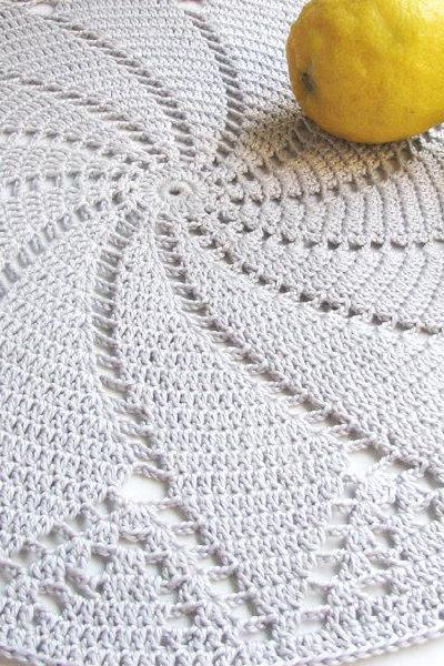 Shiny grey placemat - Doily series - Cotton