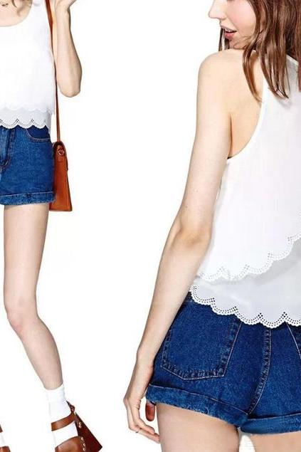 Hollow Out White Sleeveless Chiffon Blouse